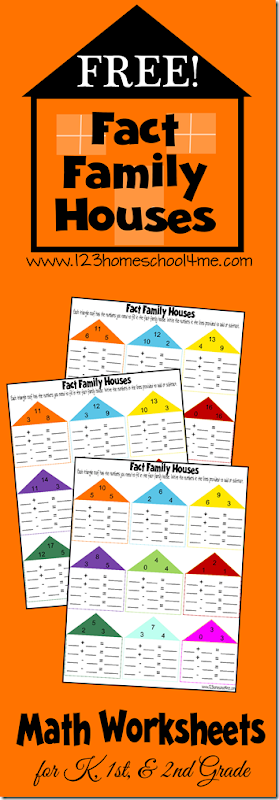 FREE Fact Family Math Worksheets for Kids. These are a fun way for Kindergarten, 1st grade, 2nd grade, and 3rd grade kids to practice addition and subtraction. They help kids make number bonds.