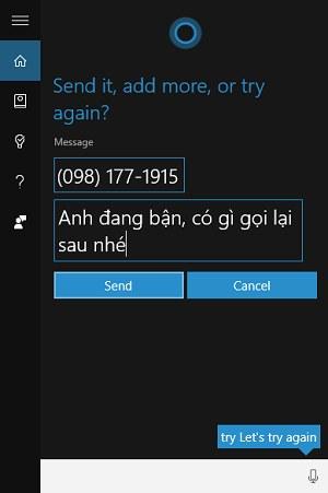 Nhắn tin bằng Cortana cho số gọi nhớ trên Windows 10