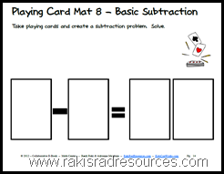 Free, printable e-book of mats to be used with playing cards on a variety of levels of math skills