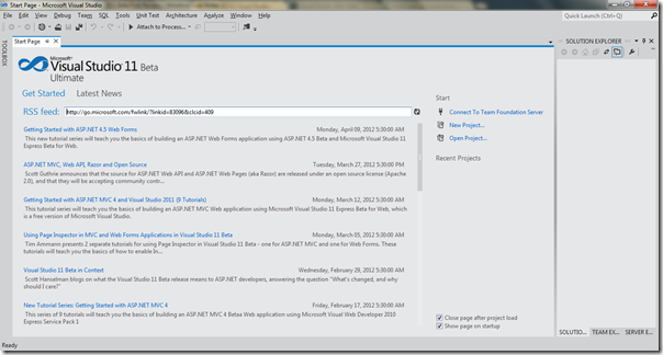 Start Page of Visual Studio 2011 Beta- First Review of Visual Studio 2011 beta