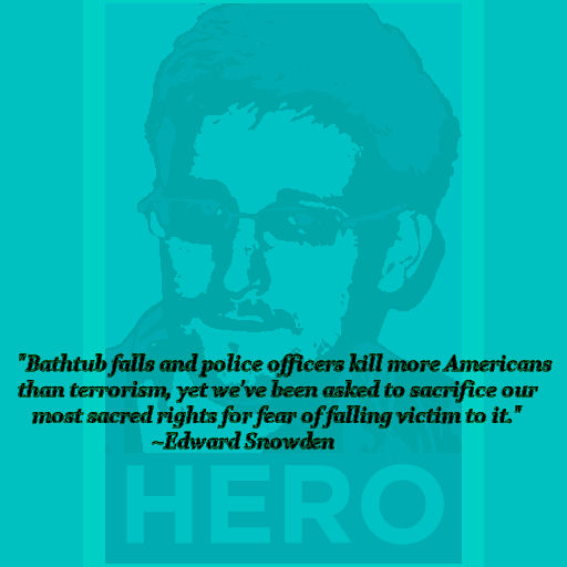 """Bathtub falls and police officers kill more Americans than terrorism, yet we've been asked to sacrifice our most sacred rights for fear of falling victim to it."" Ed Snowden"