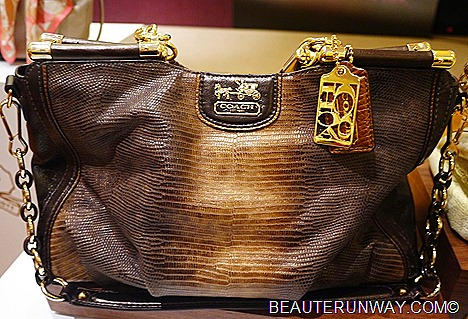 Coach Madison Caroline python 14K gold and burnished amber platings