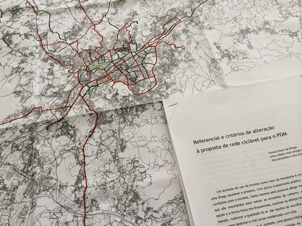 Proposta de alterações dos ciclistas à Rede Ciclável em fase de planeamento para a cidade de Braga