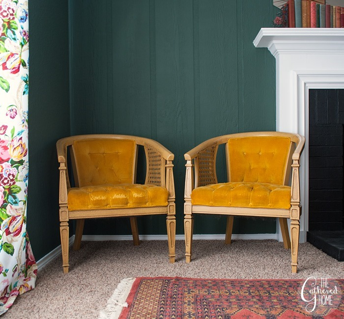 thriftscorethursday tufted yellow velvet caned chairs