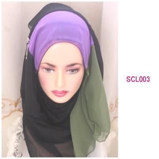 shawl chiffon 3 layer hitam