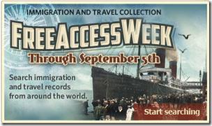 Ancestry.com..移民和旅行收集免费访问周