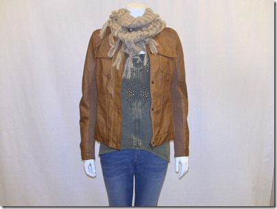 faux leather jkt 29.99 ink denim $19.99 studded lace back top $28