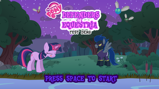 The title screen for the Defenders of Equestria demo.