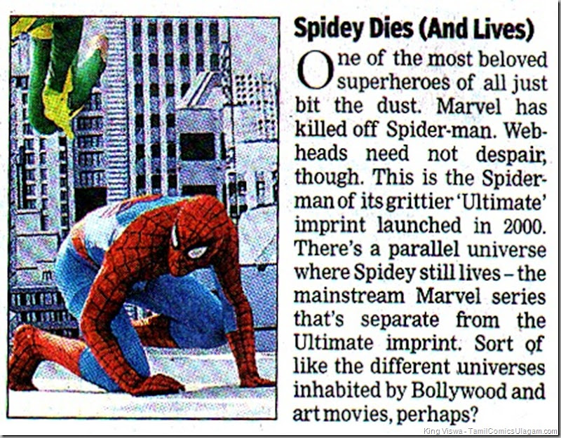 Times of India Chennai Edition Dated 23062011 Editorial Page No 16 Spidey Dies