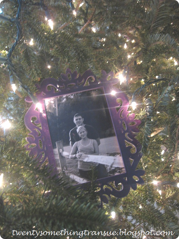 Purple Christmas Tree Decorations and Photo Ornament 007