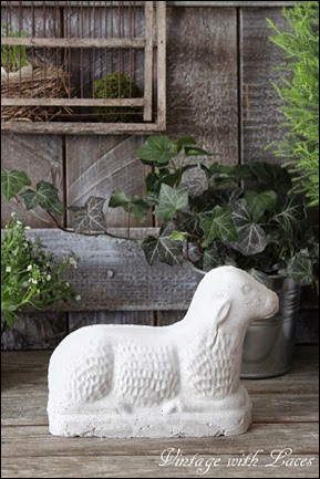 Cement Lamb made with a vintage chocolate mold