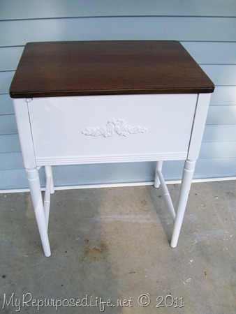sewing cabinet makeover with paint and stain