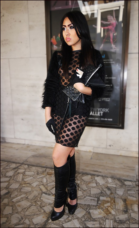 alice wang wearing alice wang black polka dot see thru dress fur sleeves short gloves black platform heels black leather leg warmers 2 ol