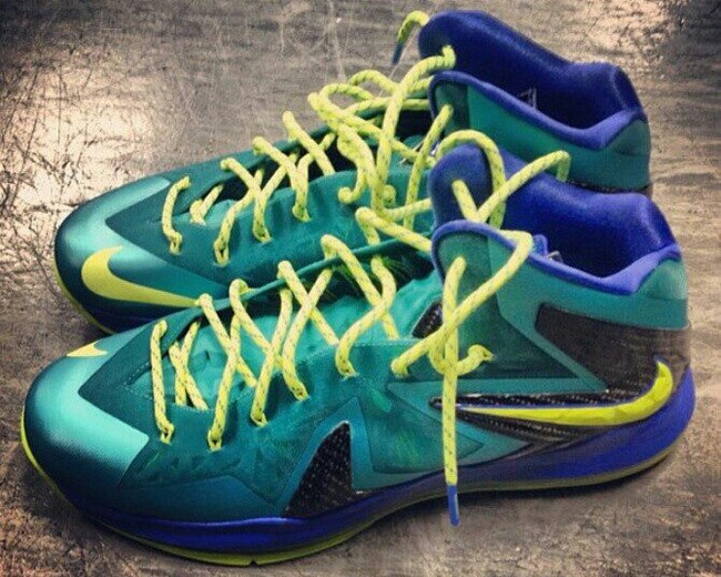 separation shoes 01bda 8d4cb Closer Look at Nike LeBron X P.S. Elite in Teal   Violet   Volt   NIKE  LEBRON - LeBron James Shoes