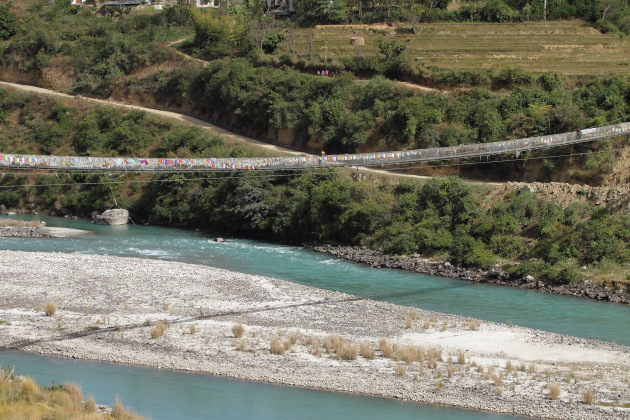 Punakha's long suspension bridge - the second longest such bridge in Bhutan
