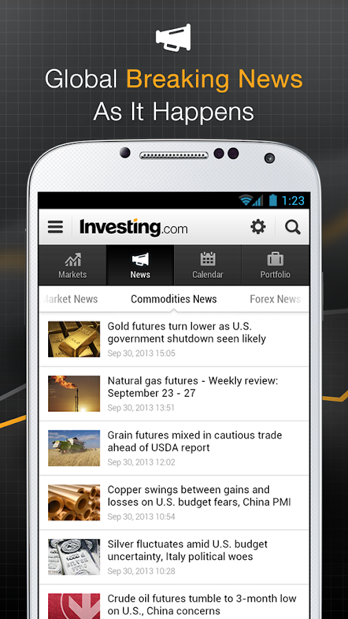 Investing.com Shares & Forex- screenshot