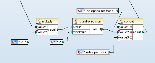 MapForce conversion of meters per second to miles per hour