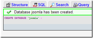 database joomla created