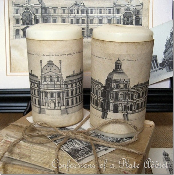 CONFESSIONS OF A PLATE ADDICT Parisian Architecture {Aged Paper} Candle Wraps