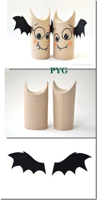Murciélagos  hechos con tubo de papel higiénico