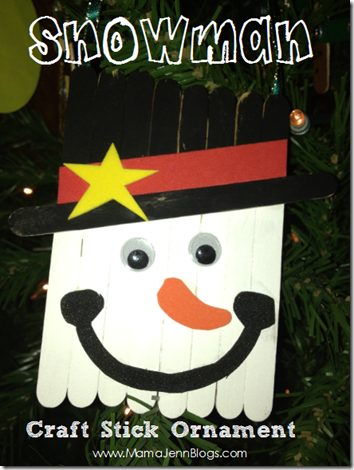 Snowman Craft Stick Banner Ornament