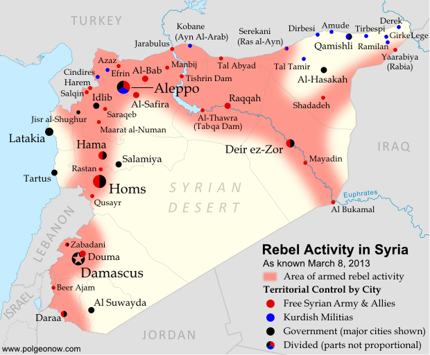 Map of rebel activity and control in Syria's Civil War (Free Syrian Army, Kurdish groups, Al-Nusra Front and others), updated for March 2013. Includes recent locations of conflict, including Raqqa, Al-Safira, Al-Hasakah, and Tabqa Dam.