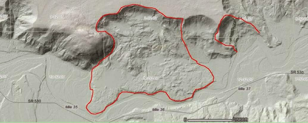LiDAR map near the Oso landslide (red region at right), and a larger landslide complex (red region at center).  Image credit: Dan McShane.