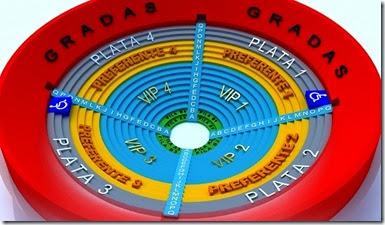 Mapa de zonas y lugares del Palenque iestas de octubre: Plata Gradas VIP y Preferente
