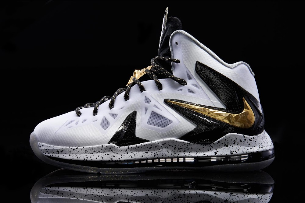 15715b072ae ... Another Look at Nike LeBron X PS Elite in White Gold and Black