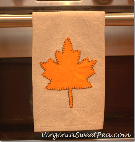 Drop Cloth Leaf Embellished Tea Towel