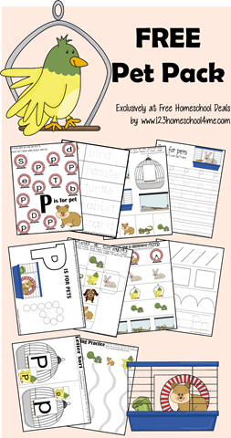 FREE Pet themed worksheets for kids form toddler, preschool, prek, kindergarten, first grade, and second grade. This is a great way for kid to practice letters, letter p, shapes, pre writing, upper lower case letters, counting, and more.