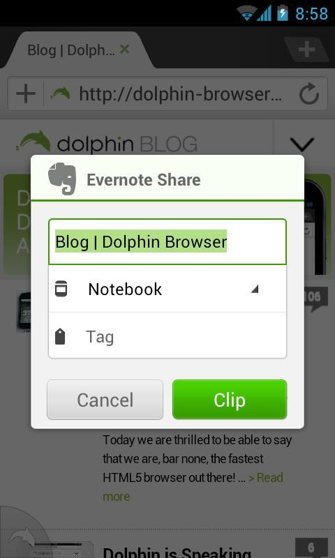Dolphin: Evernote Add-on - screenshot