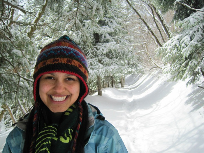 Brooke snowshoeing on Pipeline Trail in Millcreek Canyon Utah