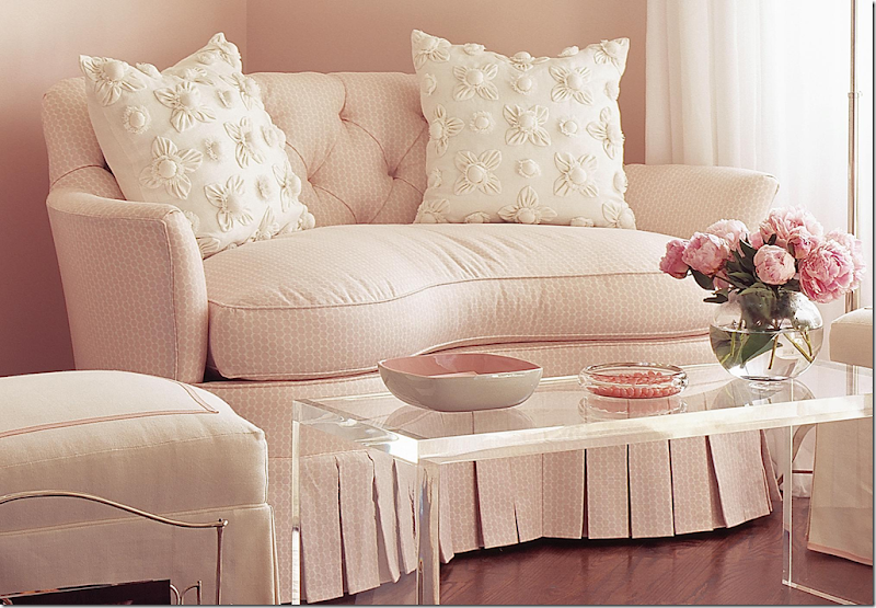Beautiful soft pink on walls in room with design by Phoebe Howard: White Dogwood.