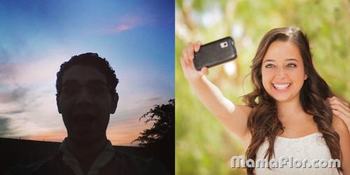 Selfie contraluz y en frente de la luz