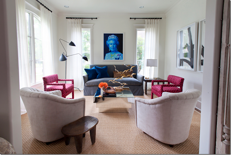 As Sallys Love For The British Look Grew Her Living Room Changed To Reflect It Sofa Was Recovered In A Gray Blue Velvet And Two Chairs Wore David