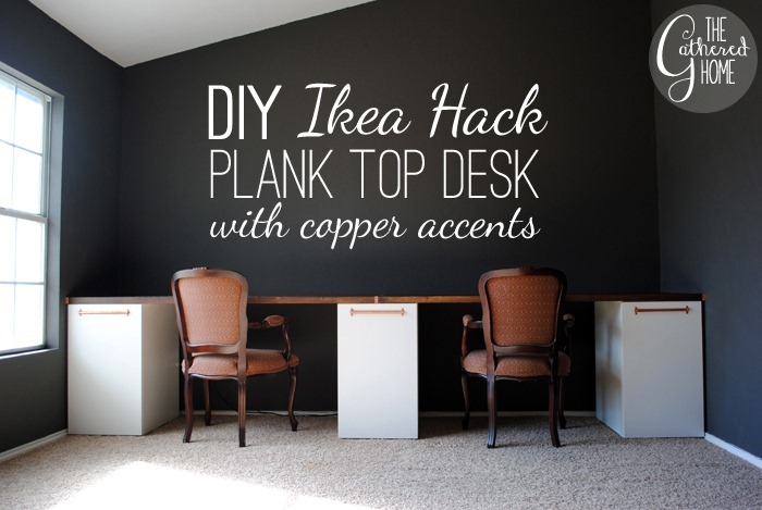 Update The Tutorial Is Now Here How To Make A Diy Ikea Desk With Plank Top And Copper Pulls