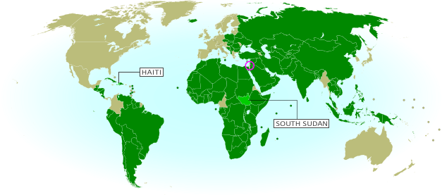Map of countries that recognize the State of Palestine as an independent country, updated for November 2013 with recent additions Haiti and South Sudan highlighted