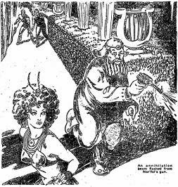 Illustration accompanying the original publication in Startling Stories magazine of short story Music Hath Charms by Henry Kuttner. Image shows gun fight scene near end of story, before the culprit is nabbed by the cop.