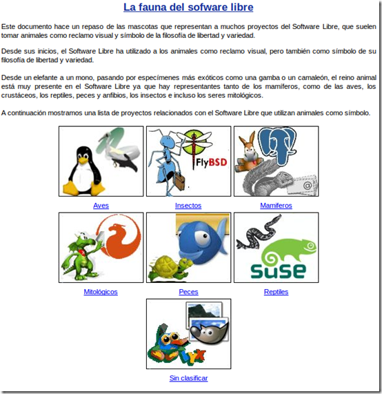 la fauna del software libre