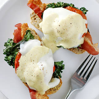 (Healthier) Bacon, Kale and Roasted Tomato Eggs Benedict.