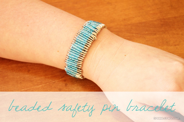 beaded safety pin bracelet