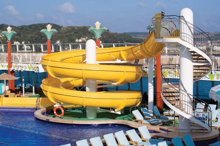 Waterslides and swimming are two of the many activities that kids and adults can look forward to aboard Norwegian Gem.