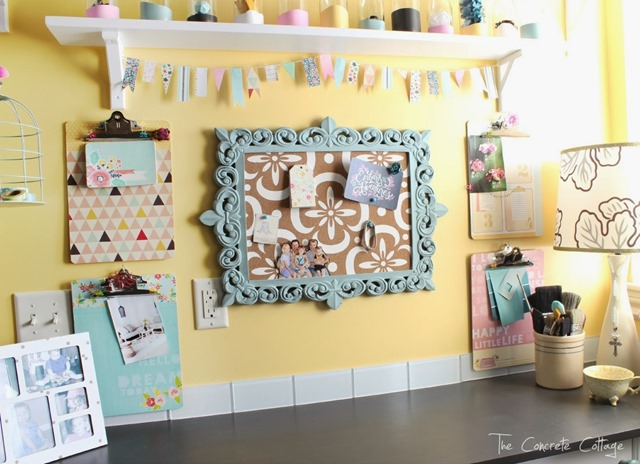 Craft Room Desk Corkboard Garland 1