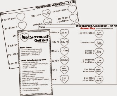 Valentiens Day Measurement Math Worksheets including   meter / centimeter, kilometer / meter, yard / feet / inch, kilogram / gram, pound / ounces, liter, milliliter, gallon / quart / pint / cup