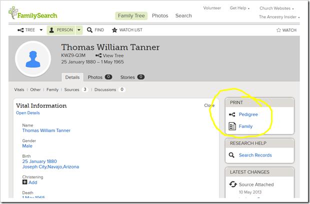 链接到Person Page的打印谱系或家庭组记录