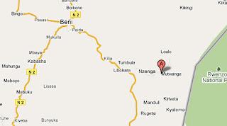 Carte de Mutwanga à Beni au Nord Kivu