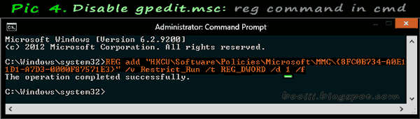 Disable gpedit.msc with REG command in cmd