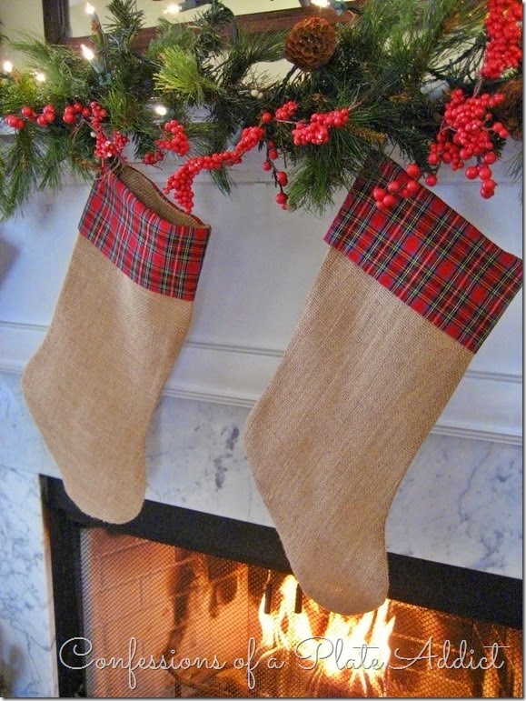 CONFESSIONS OF A PLATE ADDICT Burlap and Plaid Christmas Stockings