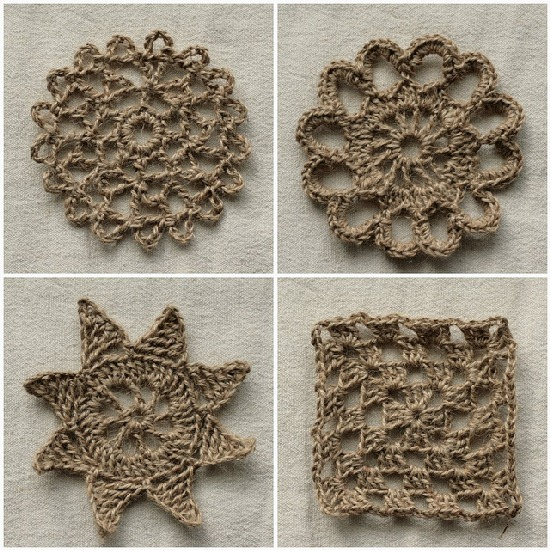 diy projects with jute--crochet decorative motifs with jute